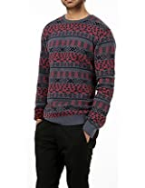 Basics Casual Jacquard Blue Cotton Polyester Regular Sweater 12BSW27140