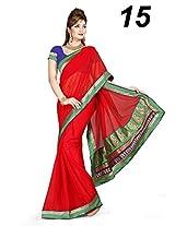Red Party Wear Saree Stone Work Chiffon Sari