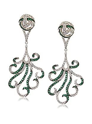 CZ by Kenneth Jay Lane Feather Deco Dramatic CZ Earrings