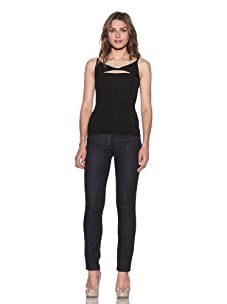 RED Valentino Women's Twisted Tank with Lace (Black/Beige)