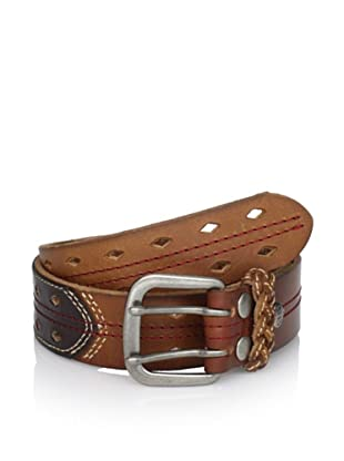 Bed Stu Women's Purser Bicolor Cutout Detail Leather Belt (Brown/Tan)