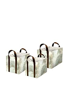 Punch Studio Nesting Tote Boxes with Faux Leather Handles, Peacock