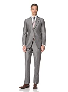 Pal Zileri Men's 2-Button Pinstripe 3-Piece Suit (Grey)