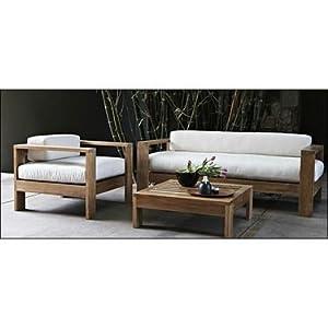 Furny Walnut Wooden Sofa Set 3+1 low rise - Cream