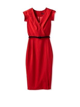 Single Women's The Wrap Victoria V-Neck Dress (Red)