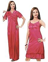 Indiatrendzs Women's Sexy Hot Nighty Pink 2pc Set Lingerie Nightwear