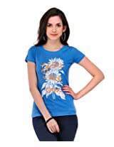 Yepme Women's Blue Cotton Graphic Tees YPMTEES5120_L