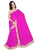 ISHIN Chiffon Pink Solid Lace Saree With Printed Blouse