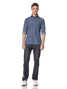 Orian Men's Rose Print Shirt (Blue)