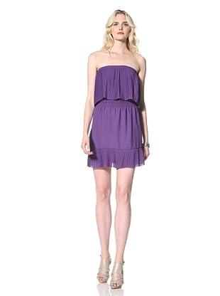 Parker Women's Strapless Pleated Dress (Purple)