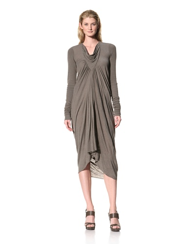RICK OWENS Women's Long Cowl Neck Dress (Darkdust)