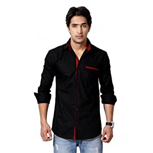 Nostra Young Black With Red Slim Fit Casual Shirt