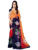 Silk Bazar Women's Faux Georgette Saree with Blouse Piece (Orange & Blue)
