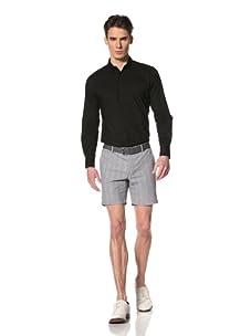 Brent Wilson The Basics Men's Tailored Short with Single Back Pocket Flap (Black/White Stripe)