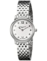 Frederique Constant Women's FC200WHDS6B Slim Line Analog Display Swiss Quartz Silver Watch