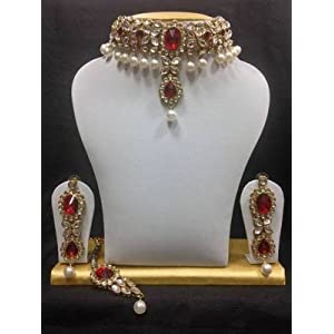 Mirraw Close Neck Kundan Jewellry - Dark Red