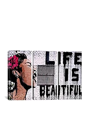 Banksy Life Is Beautiful Gallery Wrapped Canvas Print, Triptych