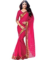 Parchayee Women's Cotton Saree (94377A, Pink, Free Size)