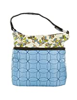 Travelon Quilted Nylon Zip-Top Train Case - Blue/Leaf Pattern