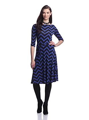 Leota Women's Ilana Printed Fit-and-Flare Dress (Blue/Black Chevron)