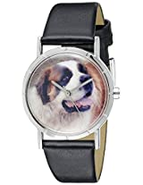 Whimsical Watches Kids' R0130070 Classic Saint Bernard Black Leather And Silvertone Photo Watch