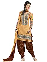 Vibes Women Georgette Salwar Suit Dress Material (V183-3 _Beige And Brown _Free Size)