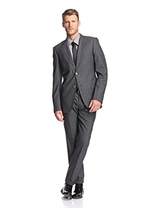 Calvin Klein Collection Men's Hudson 2-Button Plaid Suit (Dark Gray)