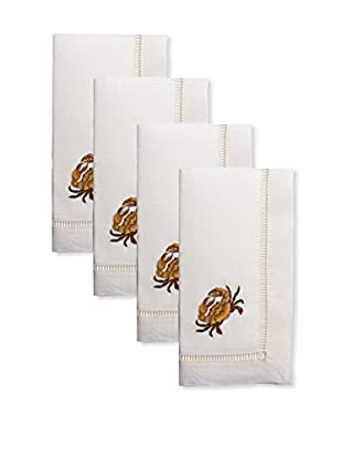 Henry Handwork Set of 4 Golden Crab Embroidered Napkins, Ivory