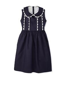 Rachel Riley Girl's Scalloped Dress (Navy)