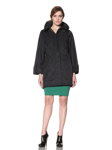 Hilary Radley Women's Fly Front Anorak with Hood (Black)