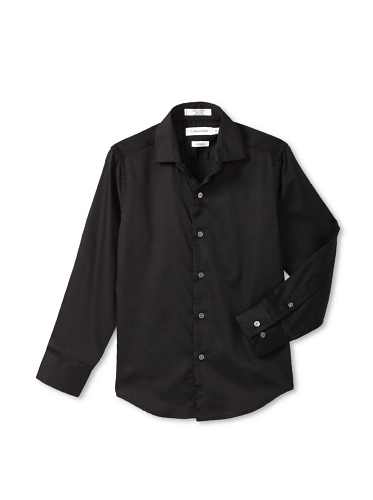 Calvin Klein Boy's 8-20 Sateen Hanging Dress Shirt (Black)