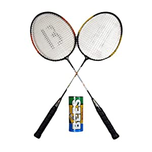 Bees Economy Badminton Racket (Set of 2 with pack of 3 shuttlecocks)
