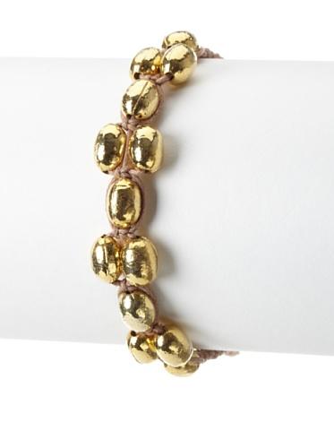 Shashi Coconut Adjustable Bracelet, Yellow Gold/Nude