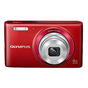 Olympus VG-180 16MP Point-and-Shoot Digital Camera with 5x Optical Zoom (Red) with SD Card and Camera Case