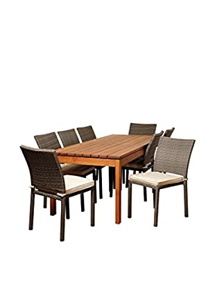 Amazonia Mississippi 9-Piece Eucalyptus Wicker Rectangular Dining Set with Off-White Cushions, Brown/Grey