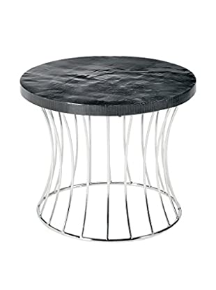 Home Philosophy Metal Caged Fluted Round Table, Black