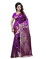 Shree Sanskruti Women's Tassar Silk Saree (Banarasi 1003 Purple_Purple)