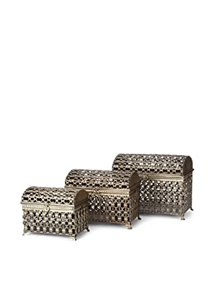 Dynasty by Carolyn Kinder Set of 3 Fiennes Metal Storage Trunks (Bronze)