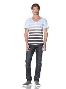 Religion Men's Short Sleeve Ombre Stripe Henley (Pale Blue/Washed Black)