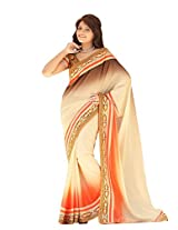 Trynget'S Multi Color Half-Half Branded Saree