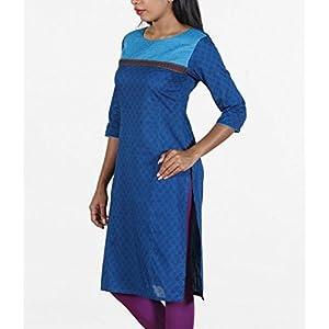 Dark blue, cotton, block-printed kurta.