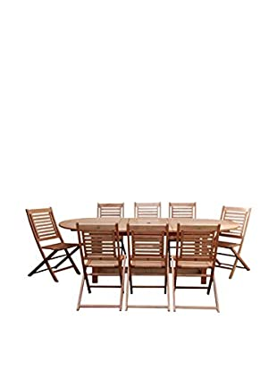 Amazonia Milano 9-Piece Grand Extendable Dining Set, Brown