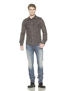 MG Black Label Men's West Cowboy Gauze Shirt (Olive Blue Gingham)