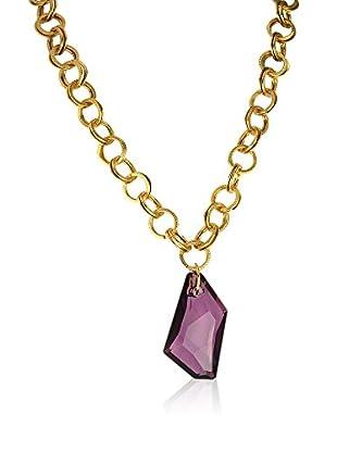 Shiny Cristal Halskette vergoldetes Metall 24 kt