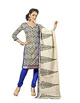 Suchi Fashion Printed Cream & Blue Chanderi Dress Material
