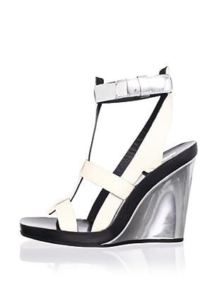 Calvin Klein Collection Women's Frey Multi T-Strap Sandal (Porcelain/Silver)