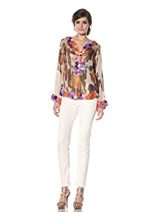 Chris Benz Women's Long Sleeve Reef Print Djellba with Beading (Orange Multicolored)