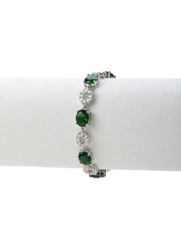 CZ by Kenneth Jay Lane Green/Clear Pave and Oval Cut Bracelet