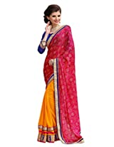 Bahubali Womens Bandhni saree along with heavy jari lace and patch work(85601_Pink and Orange Colour Saree)