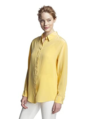Craig Taylor Women's Crown Jewel Washed Silk Boyfriend Shirt (Yellow)